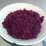 Red cabbage cooked with red onion and plum - yum!